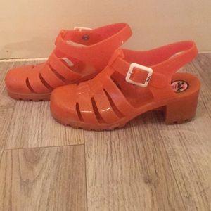 Pink Jelly Heel Sandals